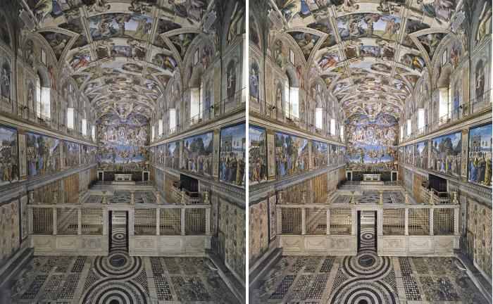 OSRAM Cappella Sistina prima e dopo